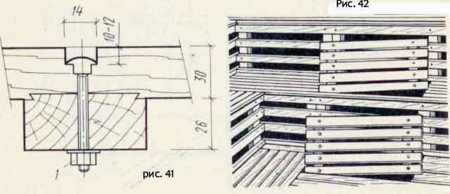 Деталь полок, Крепление полок, расположенных у двух стен парной