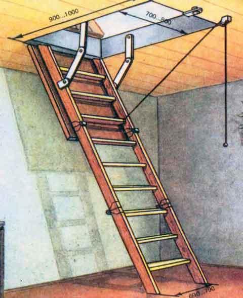 Складная лестница для чердака своими руками