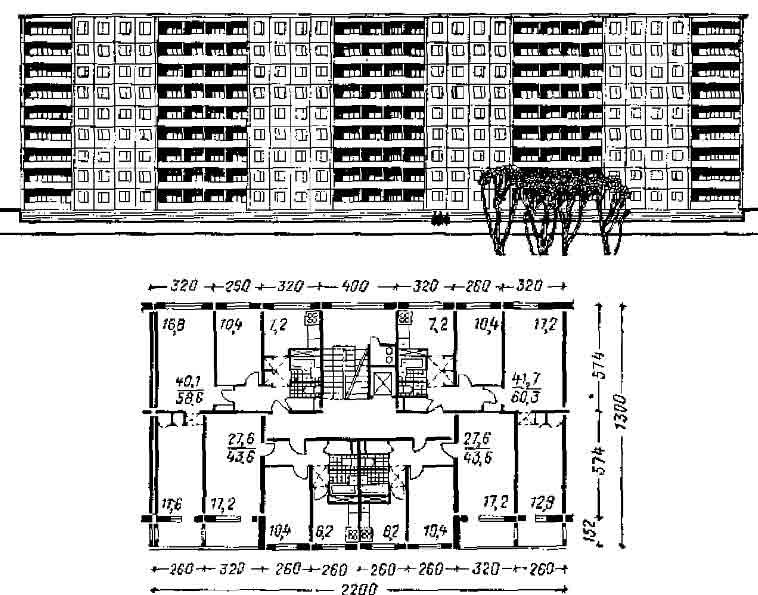 Секционный 9-этажный дом серии