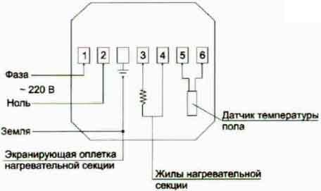 Схема подключения электронного термостата ENERGY Pro (OCC2-.991RU) .
