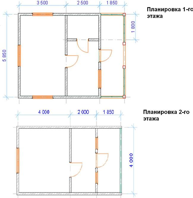 Дом из бруса 6х6 м, с террасой и балконом, пример 5 - Примеры проектов, цены - статьи